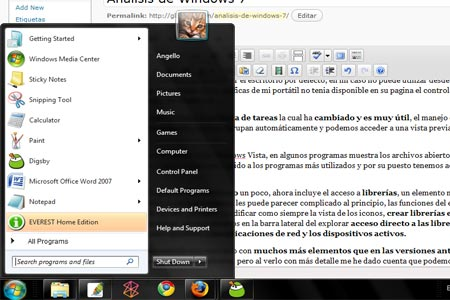 Menú inicio de Windows 7