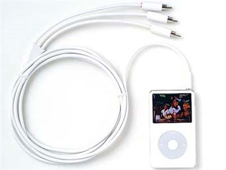 iPod y sus respectivos cables para sistemas de video.