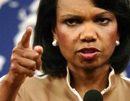 condoleezza rice dando reporte en la casa blanca