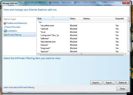 herramienta inprivate filtering