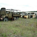 Camiones en desuso despues del accidente nuclear en chernobyl