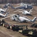 Varios helicopteros usados en el accidente de chernobyl
