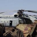Helicoptero y tractores destrozados en chernobyl