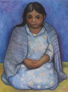Pintura de niña con rebozo