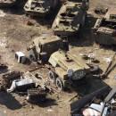 Tanques arrumbados en los campos de chernobyl
