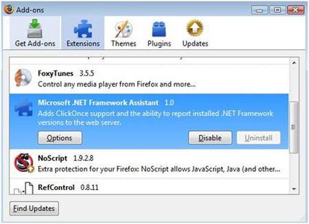 Extension de Firefox en Microsoft