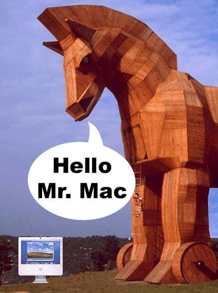 troyanos y virus para mac de apple con forma de caballo de troya