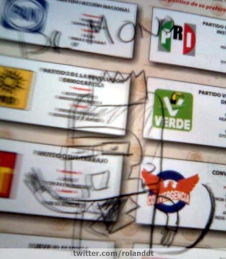 Dibujo de Dr.Mono en boleta electoral