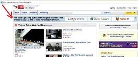 YouTube pide a los usuarios utilizar nuevos navegadores