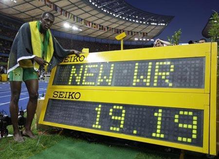 Usain Bolt con su nuevo record