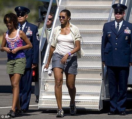 Michelle Obama en short en viaje de verano