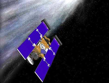 recreación de sonda Stardust atravesando la cola del cometa