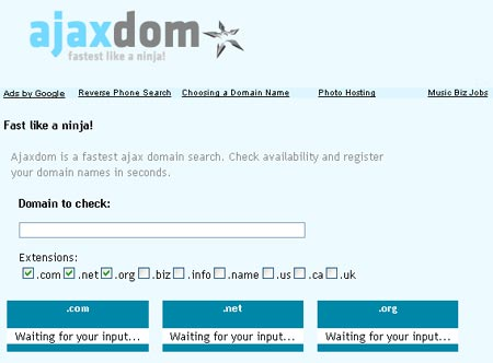 Buscador de dominios Ajaxdom