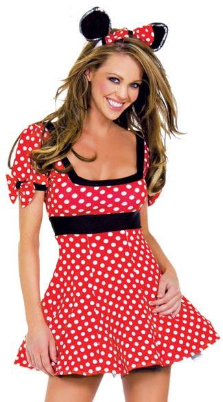 Chica sensual con disfraz sexy de minnie mouse
