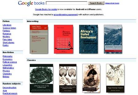 Seccion de libros de Google