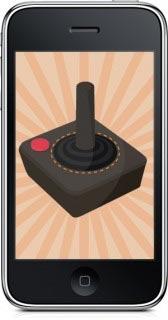 Imagen de un iphone con un control para vídeo juegos