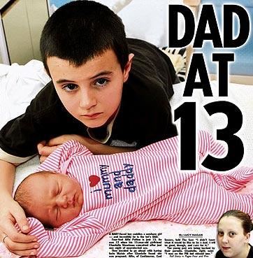 Foto de Alfie Patten con una bebe