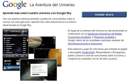 """Google Sky """"La Aventura del Universo"""""""