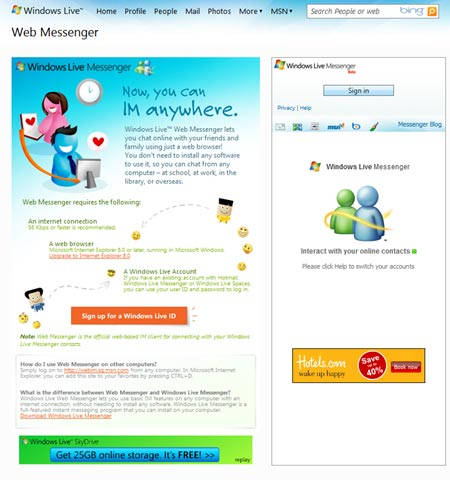 Windows Live Messenger desde el navegador