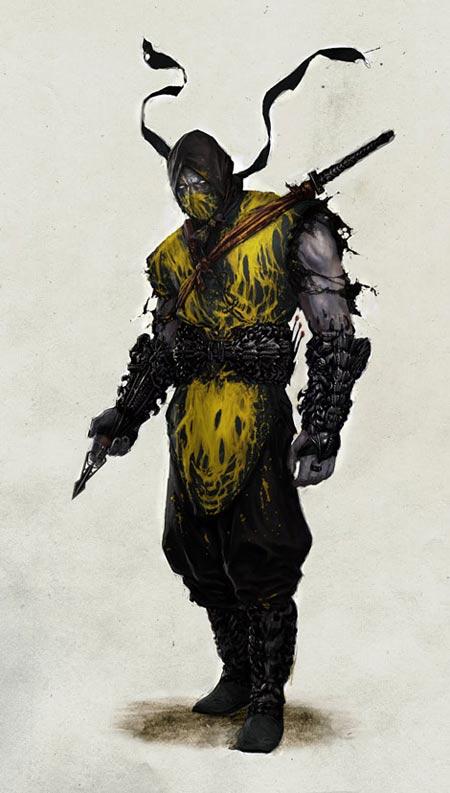 Scorpion, a quien se le coloco un traje con manchas amarillas que simbolizan la sangre de un demonio