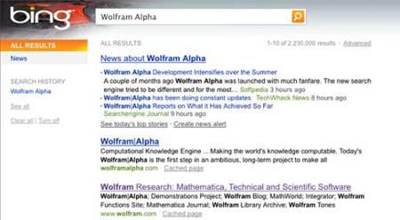 Bing incluye a Wolfram Alpha en sus resultados