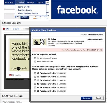 Nuevo sistema de pago de Facebook