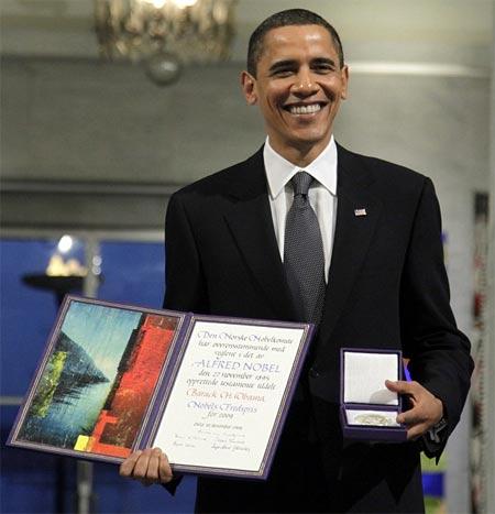 Barack Obama  recibio el premio nobel de la paz