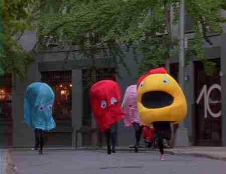 Ms.Pacman perseguida por fantasmas en Nueva York