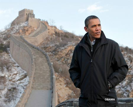 Barack Obama de visita en la Muralla China