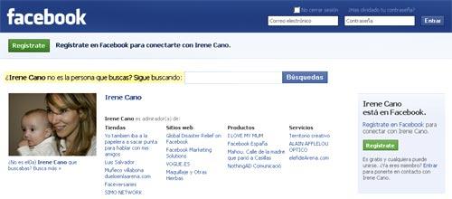 Cuenta de Facebook de Irene Cano