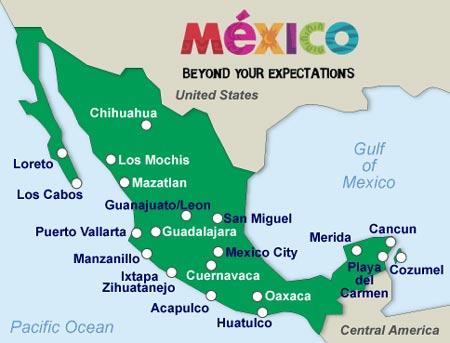 Mapa con las ciudades de Mexico