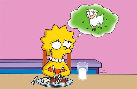 Lisa Simpson no quiere comer carne