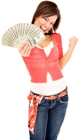 chica dinero, feliz y emocionada