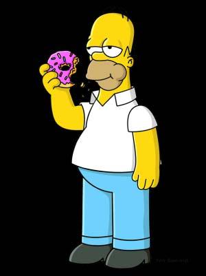 Homero Simpson comiendo una rosquilla