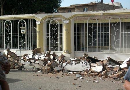 Casa afectada por el terremoto en Mexicali