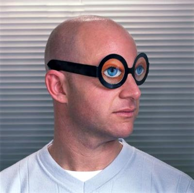 Hombre con lentes falsos y graciosos