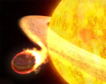 El sol absorbiendo un pequeño planeta