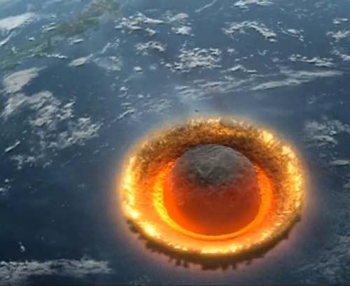 Imagen de asteroide en colisión con la Tierra