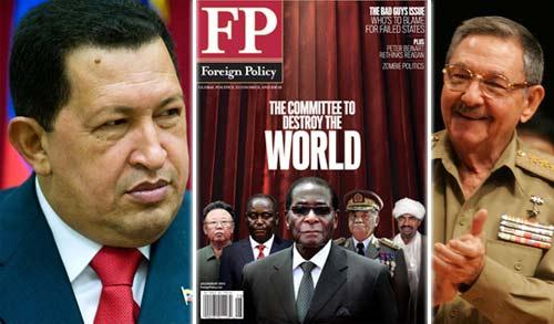 Hugo Chávez y Raúl Castro tal como aparecen en la revista FP