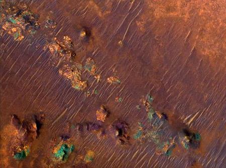 Superficie de Marte con diversas rocas