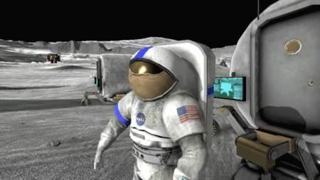 Astronauta en la base de la Luna