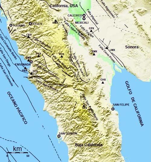 falla de san andres en todo california y baja