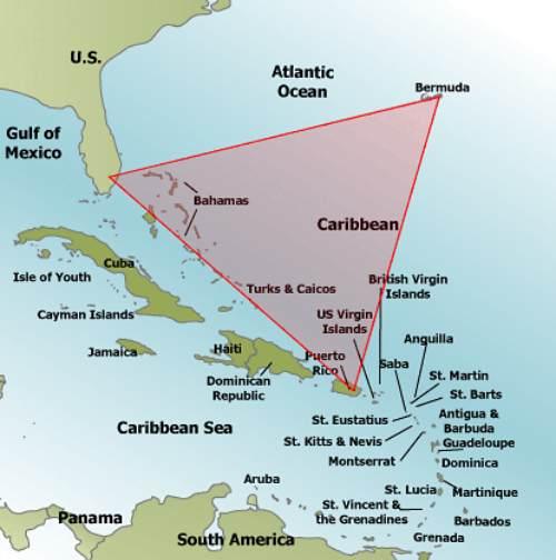 Ubicación del Triángulo de las Bermudas en el Atlántico