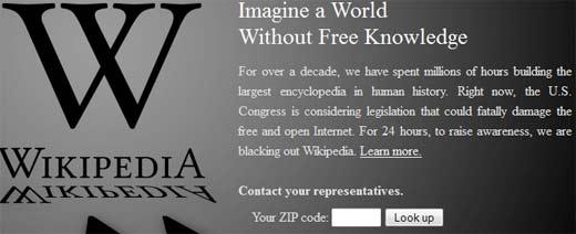 Wikipedia protesta por la Ley SOPA y miles de Webs se unen