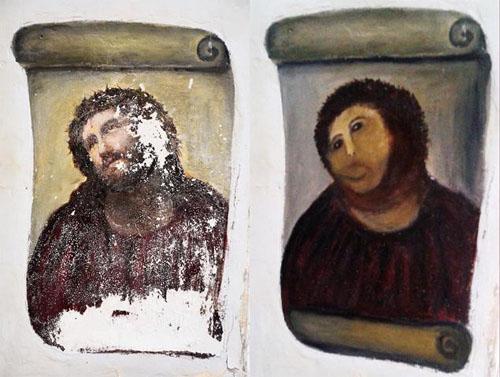 La pintura del Ecce Homo destruido