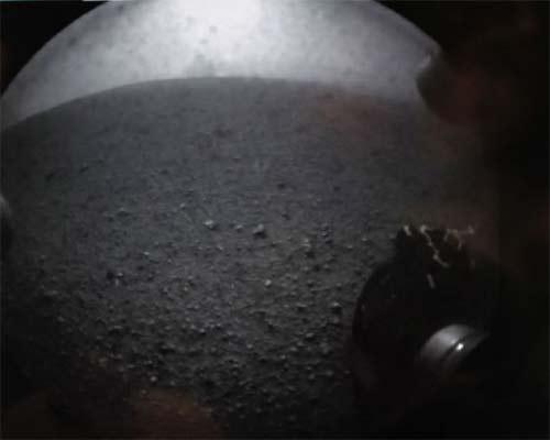 Foto de la superficie de Marte blanco y negro
