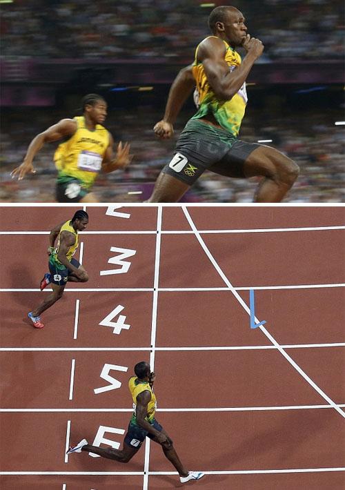 Usain Bolt en la prueba de los 200m