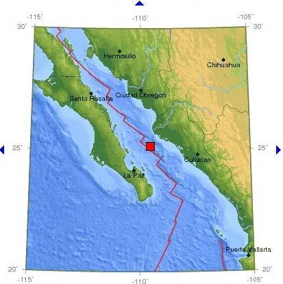 Serie de sismos en Peninsula de Baja California