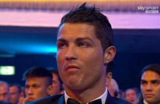 La cara de Cristiano Ronaldo cuando ganó Messi
