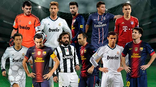 once de oro UEFA 2013. Real Madrid y Barcelona